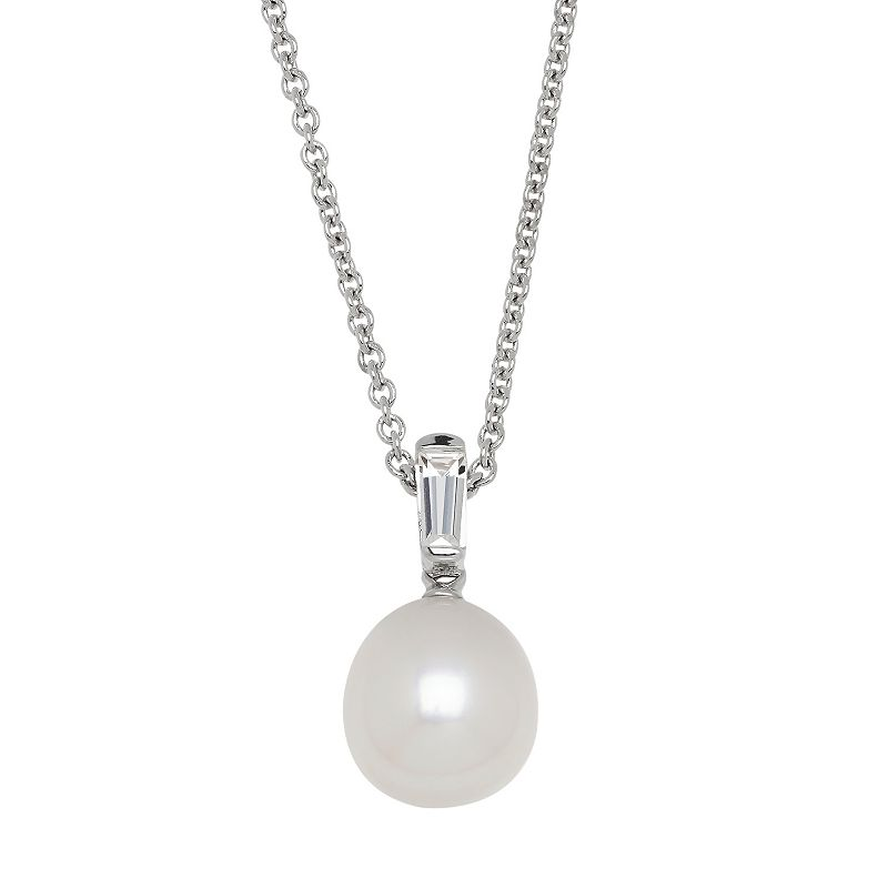 Freshwater by HONORA Sterling Silver Freshwater Cultured Pearl & White Topaz Pendant
