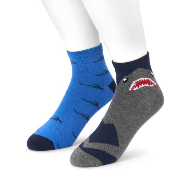 Men's 2-pack Shark & Swimmer Quarter Socks