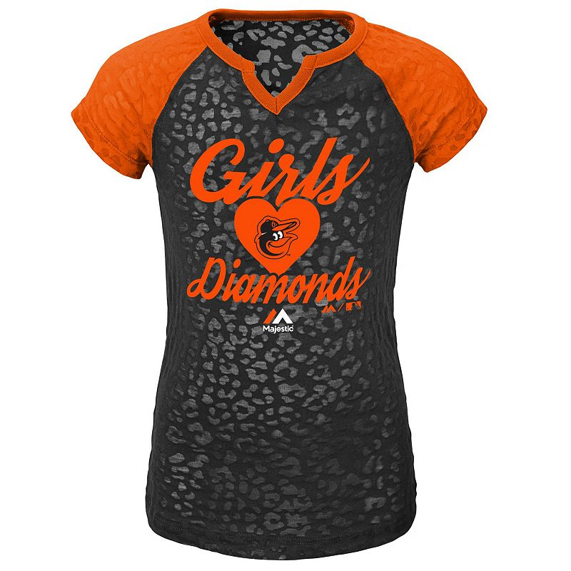 Girls 4-6x Majestic Baltimore Orioles Diamonds Tee