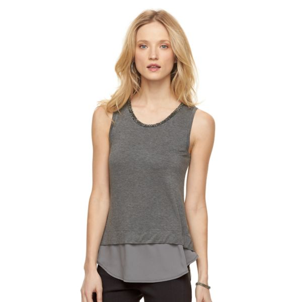 Women's Apt. 9® Embellished Mock-Layer Tank