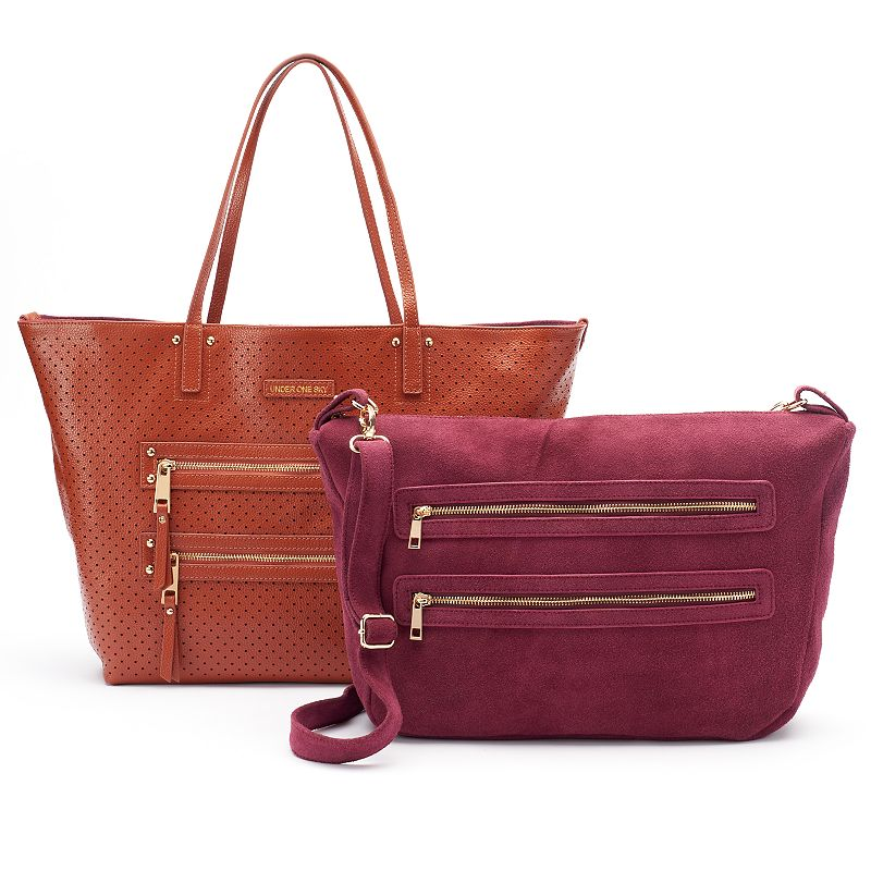Under One Sky Leather Perforated 2-in-1 Tote