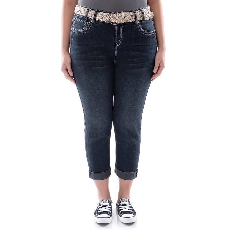Juniors' Plus Size Wallflower Roll-Cuff Denim Capris