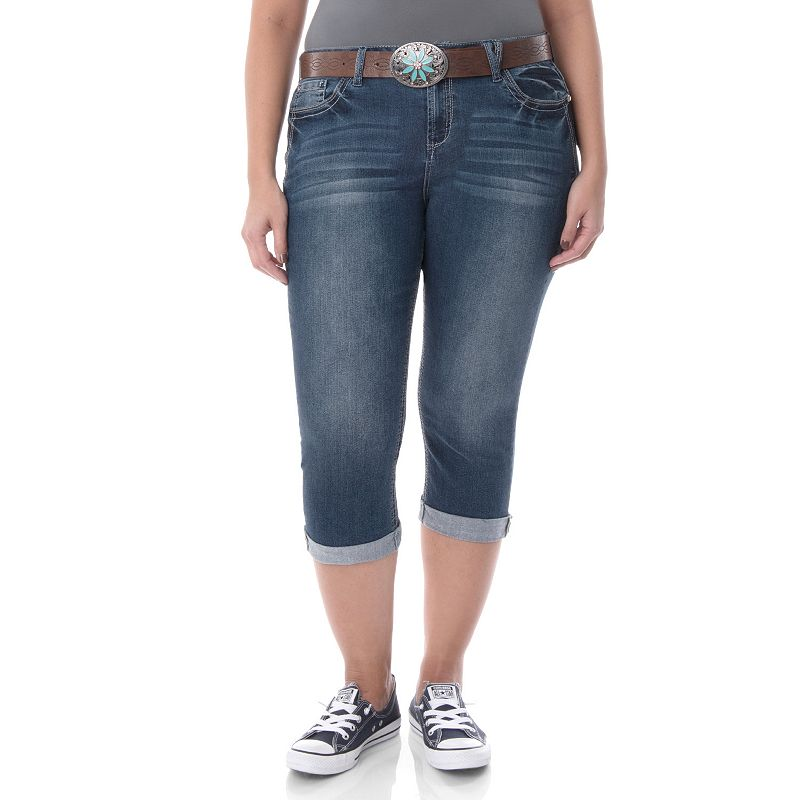 Juniors' Plus Size Wallflower Denim Capris