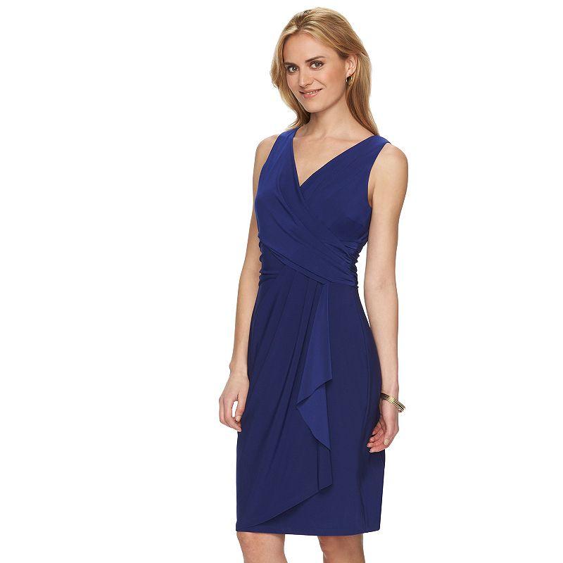 Petite Chaps Drape-Front Ruched Dress