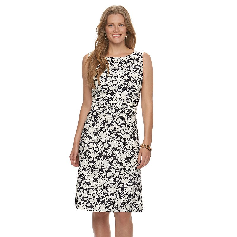 Plus Size Chaps Printed Ruched Dress