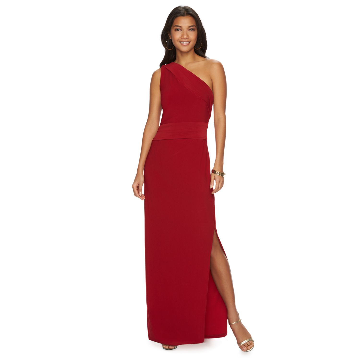 Womens Chaps Pleated Asymmetrical Evening Gown