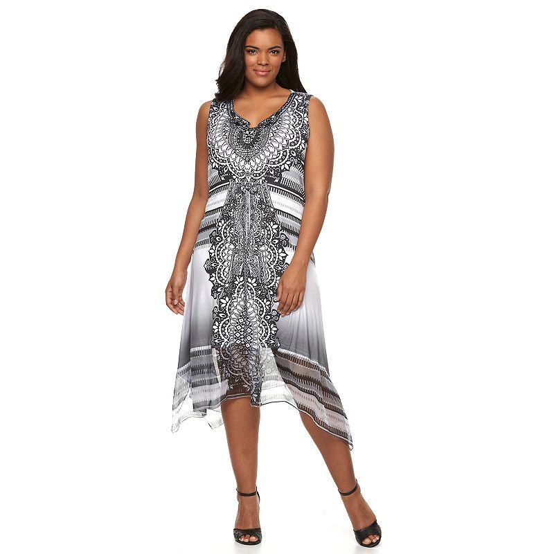 Plus Size World Unity Printed Sharkbite Dress