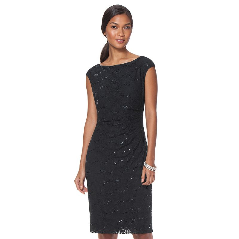 Women's Chaps Pleated Lace Sheath Evening Gown