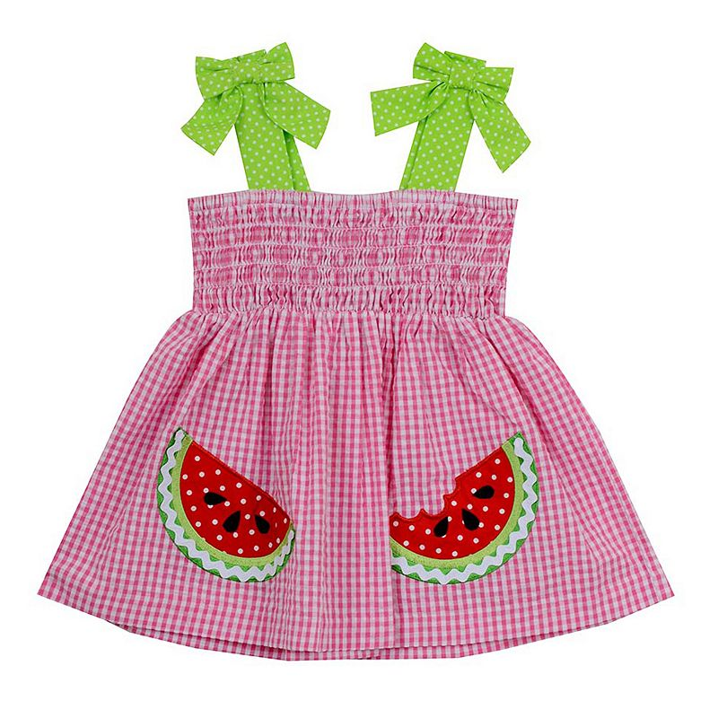 Toddler Girl Rare Editions Watermelon Plaid Seersucker Dress