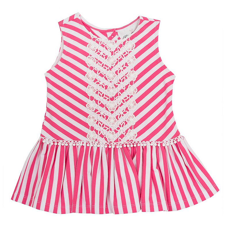 Toddler Girl Rare Editions Crochet Lace Striped Dress