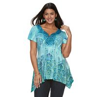 Plus Size World Unity Embellished Sublimation Sharkbite Top