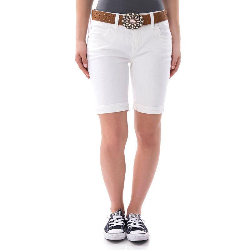Juniors' Wallflower Embroidered Flap-Pocket Bermuda Shorts