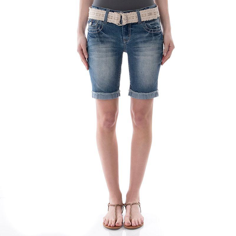 Juniors' Wallflower Cuffed Cutoff Bermuda Shorts