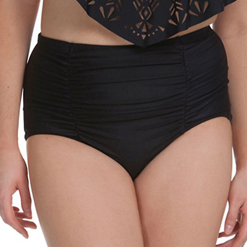 Juniors' Plus Size In Mocean Tummy Slimmer High-Waisted Bikini Bottoms