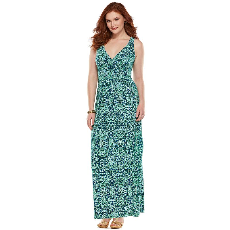 Plus Size Chaps Printed Empire Maxi Dress