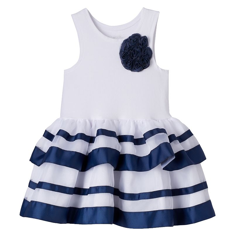 Girls 4-6x Nannette Striped Tiered Tulle Drop-Waist Dress