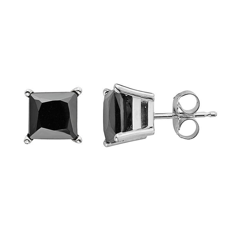 10k White Gold 4 Carat T.W. Black Diamond Stud Earrings