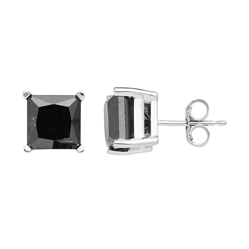 10k White Gold 5 Carat T.W. Black Diamond Stud Earrings