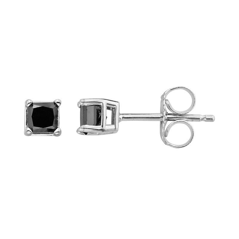 10k Gold 1/3 Carat T.W. Black Diamond Stud Earrings