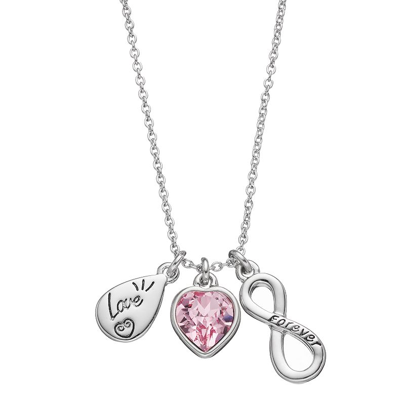 Charming Inspirations Teardrop, Heart & Infinity Charm Necklace