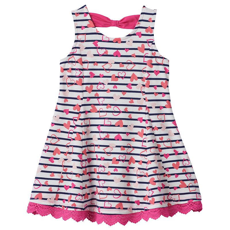 Toddler Girl Beautees Stripe Bow-Back Dress