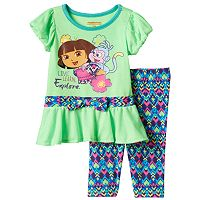 Baby Girl Dora the Explorer & Boots Peplum Top & Kaleidoscope Leggings Set