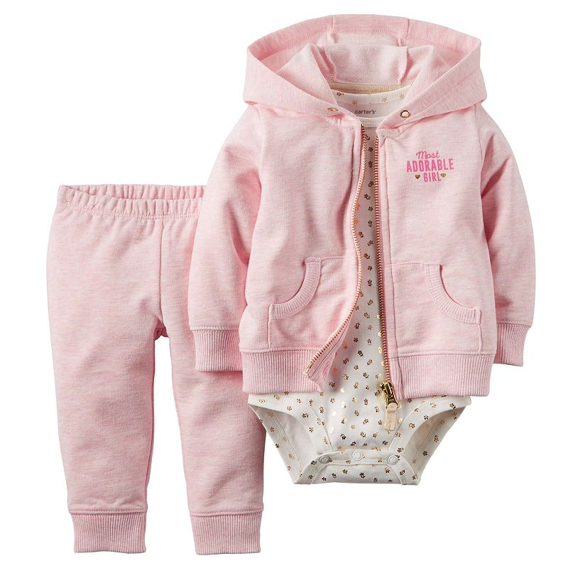 Baby Girl Carter's Hooded Cardigan French Terry Set