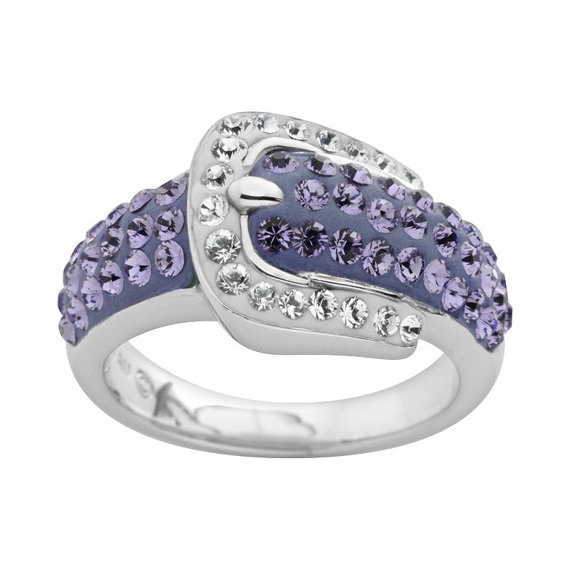 Artistique Crystal Sterling Silver Buckle Ring