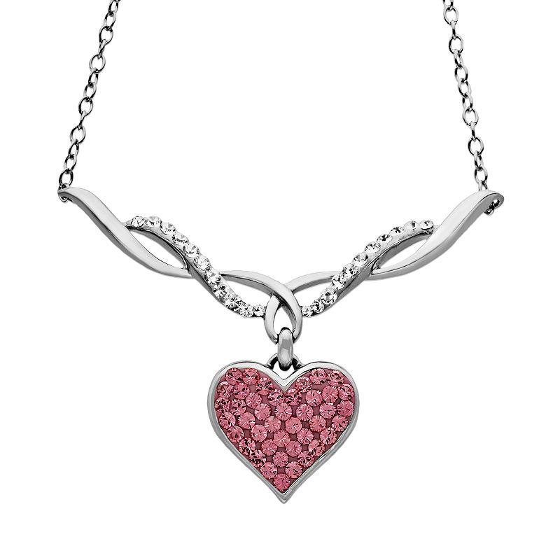 Artistique Sterling Silver Crystal Heart Necklace