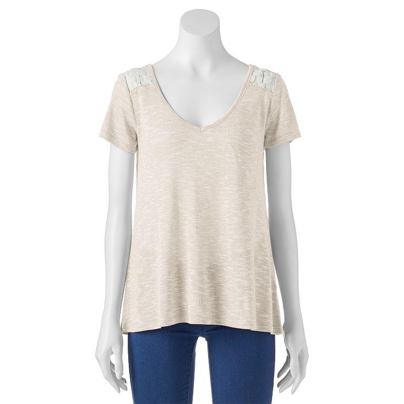 Juniors' Neon Soul Lace-Yoke T-Shirt