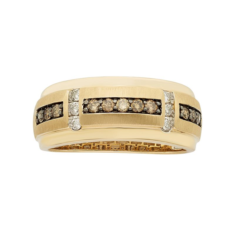 Men's 10k Gold 1/2 Carat T.W. Brown & White Diamond Wedding Band