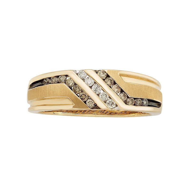 Men's 10k Gold 3/8 Carat T.W. Diamond Striped Wedding Band