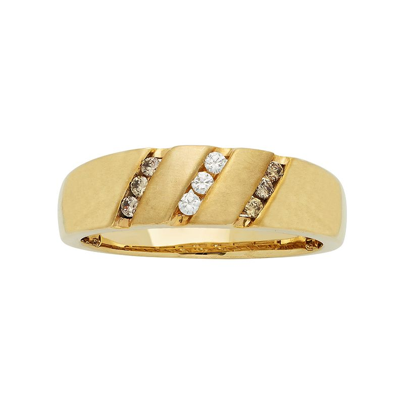 Men's 10k Gold 1/4 Carat T.W. Diamond Wedding Band