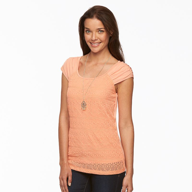 Women's AB Studio Ruched Lace Top