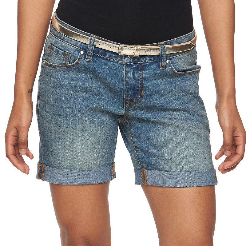 Petite Apt. 9® Modern Fit Cuffed Jean Shorts