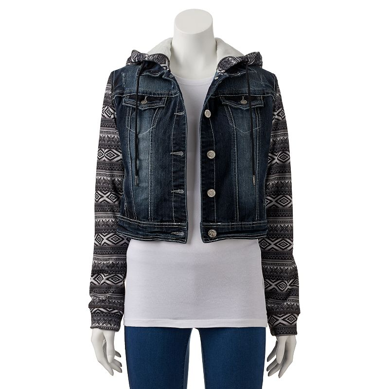 Juniors' Wallflower Mixed Media Cropped Denim Jacket