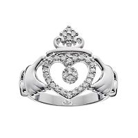 Sterling Silver 1/4 Carat T.W. Diamond Claddagh Ring