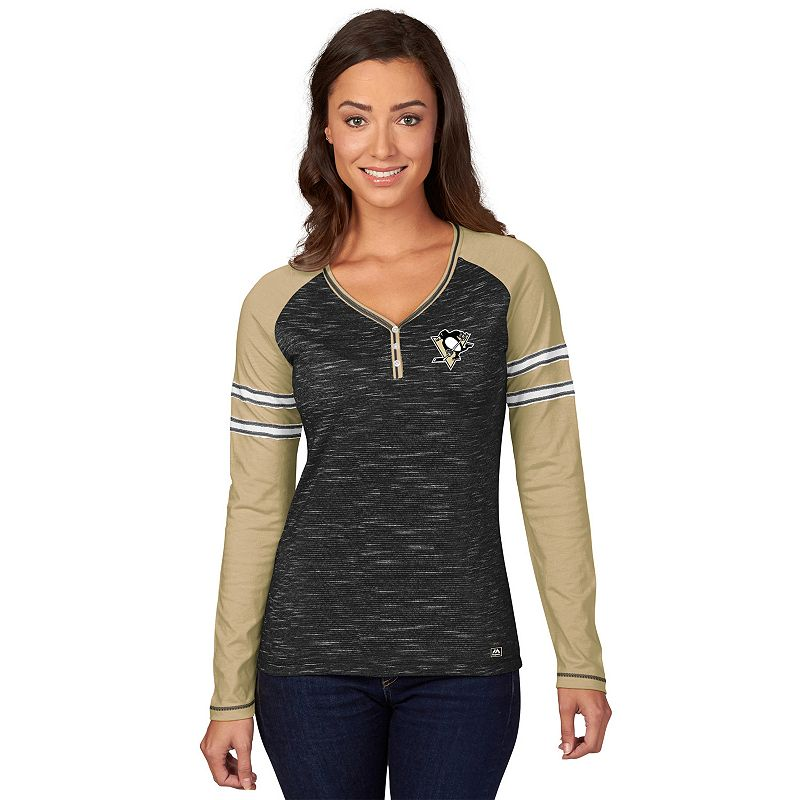 Plus Size Majestic Pittsburgh Penguins Pure Fury Raglan Henley