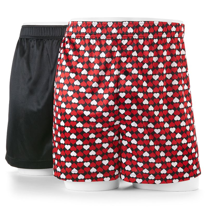 Men's Croft & Barrow® Valentine's Day Patterned & Solid Microfiber Boxers