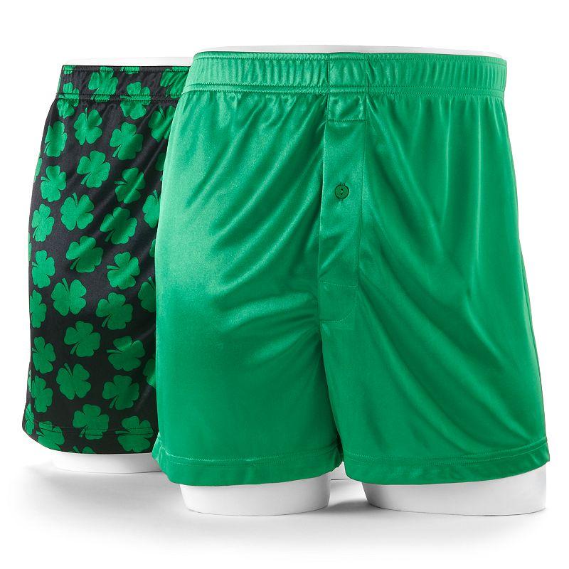 Men's Croft & Barrow® St. Patrick's Day Shamrock & Solid Microfiber Boxers