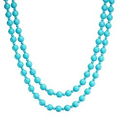 Sterling Silver Sea Blue Chalcedony Bead Necklace by