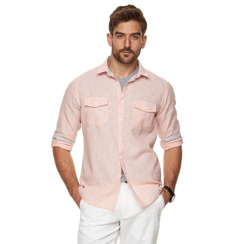 Men's Marc Anthony Slim-Fit Linen-Blend Button-Down Shirt