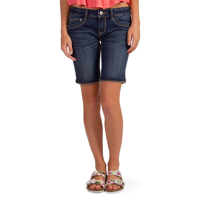 Juniors' Unionbay Flap-Pocket Denim Bermuda Shorts