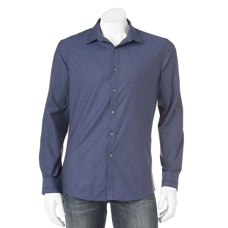 Men's Marc Anthony Slim-Fit Plaid Casual Button-Down Shirt