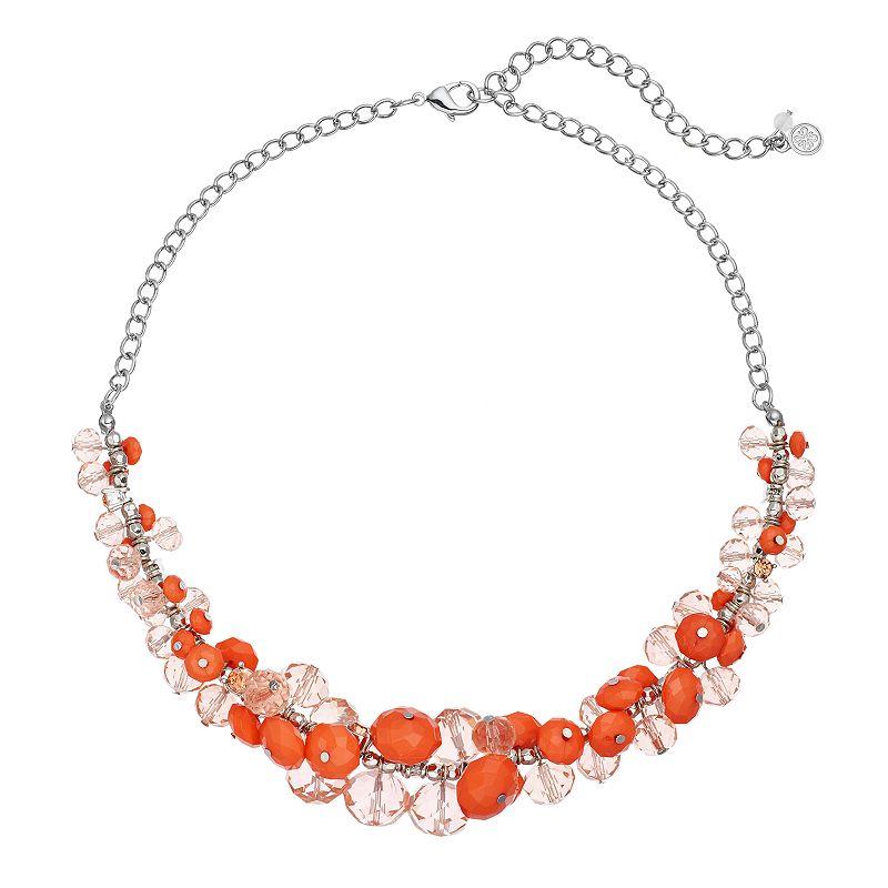 Simply Vera Vera Wang Orange Beaded Cluster Necklace