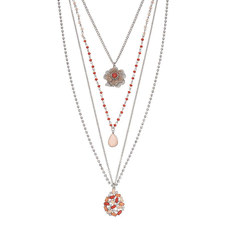 Simply Vera Vera Wang Flower, Teardrop & Cluster Layered Necklace