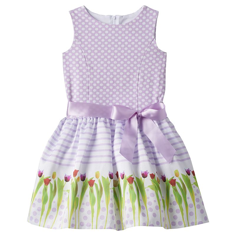 Girls 4-6x Lavender by Us Angels Photoreal Flower Dress