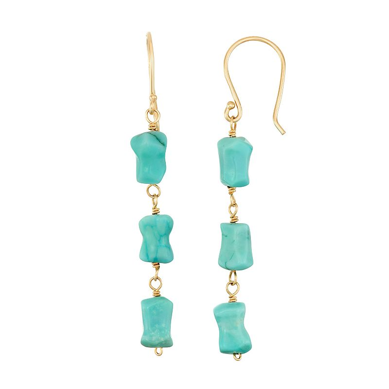 14k Gold Turquoise Linear Drop Earrings