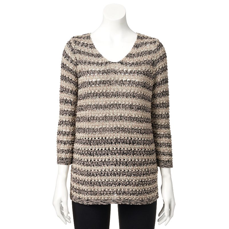 Women's Dana Buchman Striped Tape Yarn Sweater