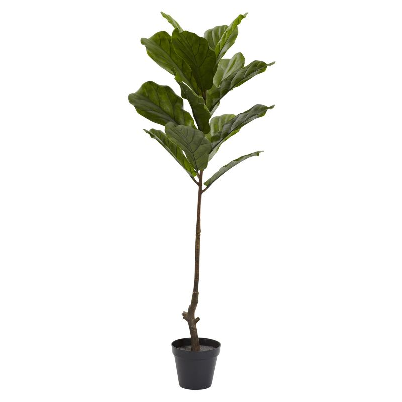 nearly natural 4-foot Artificial Fiddle Leaf Tree, Green thumbnail